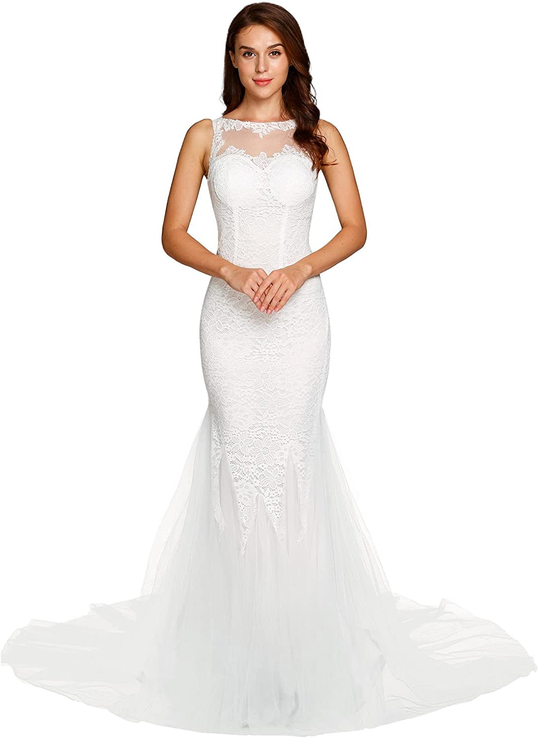 ANGVNS Women's O Neck Sleeveless Backless Tulle Chapel Train Floral Lace Mermaid Wedding Dress Bridal Gown