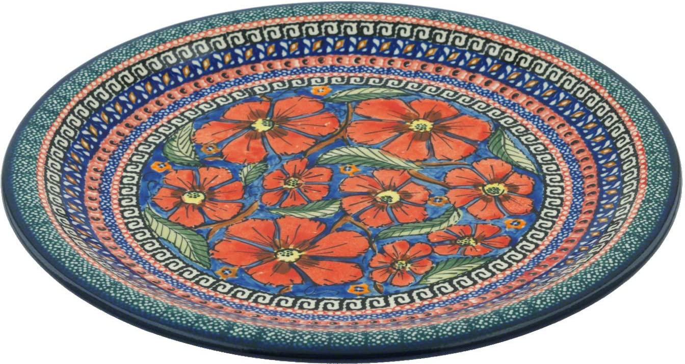 Polish Pottery Dinner Plate Indefinitely New product type UNIKAT 11-inch Poppies