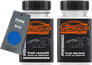 TRISTARcolor Autolack Lackstift Set für BMW B45 Estorilblau II Metallic/Estoril Blue Metallic Basislack Klarlack je 50ml
