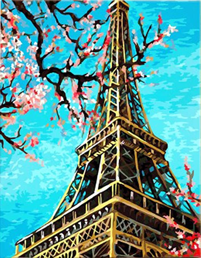 Wowdecor Paint by Numbers Kits for Adults Kids, DIY Number Painting - Paris Eiffel Tower & Spring Peach Flowers 40 x 50 cm - New Stamped Canvas (No Frame)