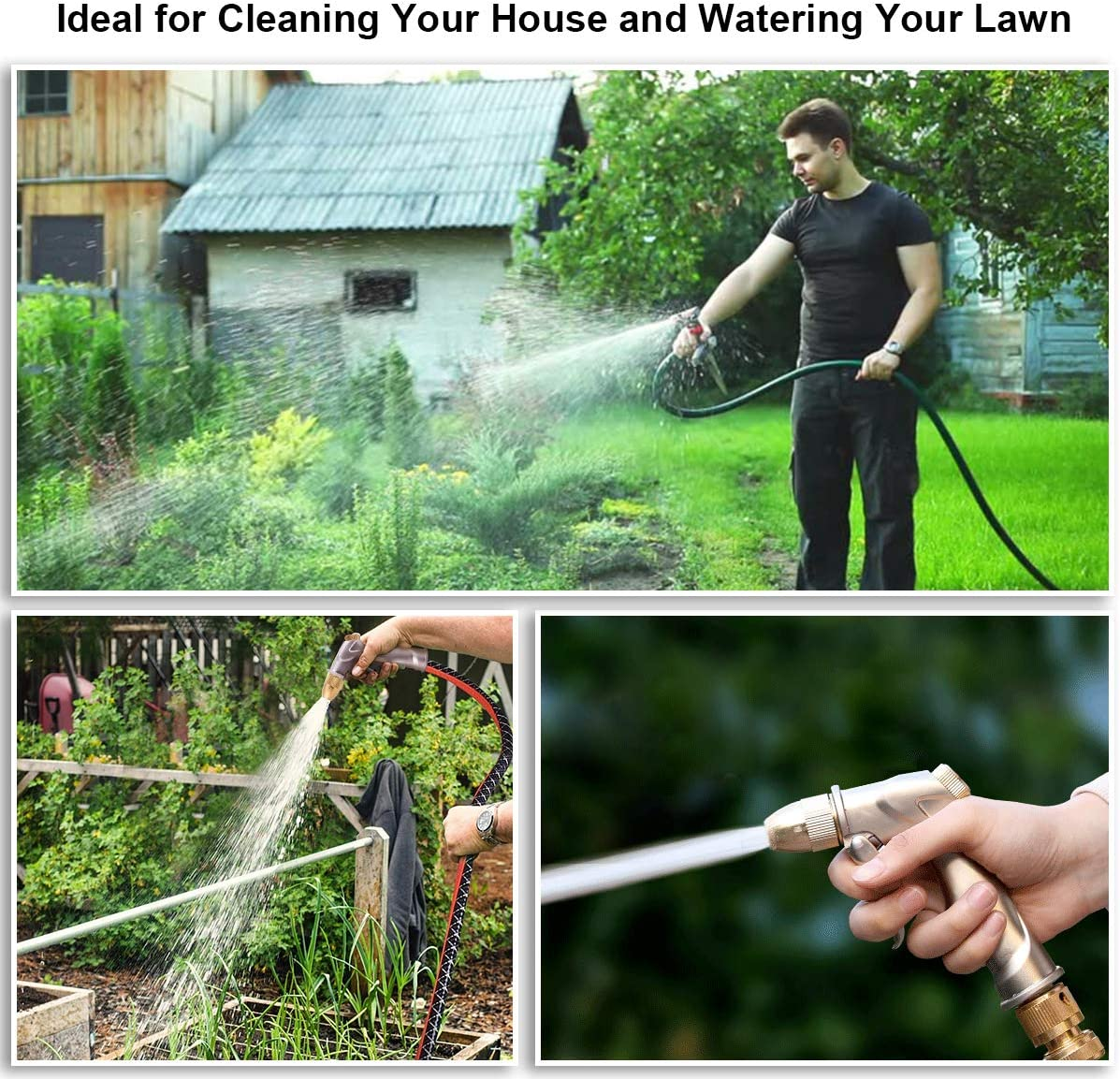 Car Wash and Showering Pets Cleaning Garden Hose Nozzle Heavy Duty Metal Hose Spray Nozzle Water Hose Sprayer Nozzle 4 Adjustable Watering Patterns Pistol Grip Hose End Sprayer for Watering Plants