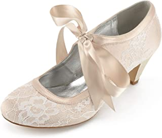 8f90b85d159 Elobaby Zapatos De Boda De Las Mujeres FD564 Silk Spring Kitten SatéN De  TacóN Alto Cerrado