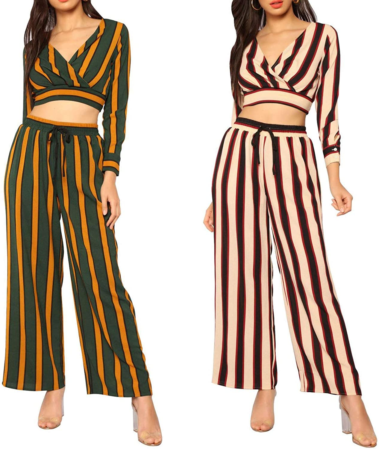I'll NEVER BE HER hot Fashion Ladies hit Stripes VNeck Exposed Umbilical Shirt WideLeg Pants