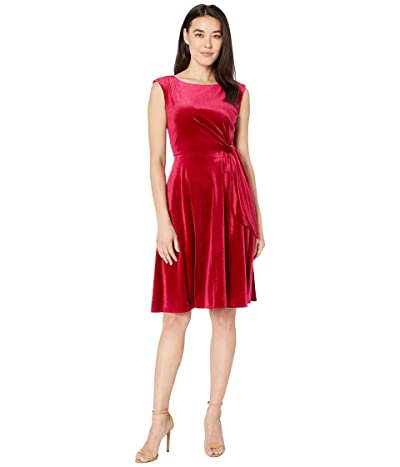 Tahari by ASL Petite Stretch Velvet Side Tie Dress (Ruby) Women