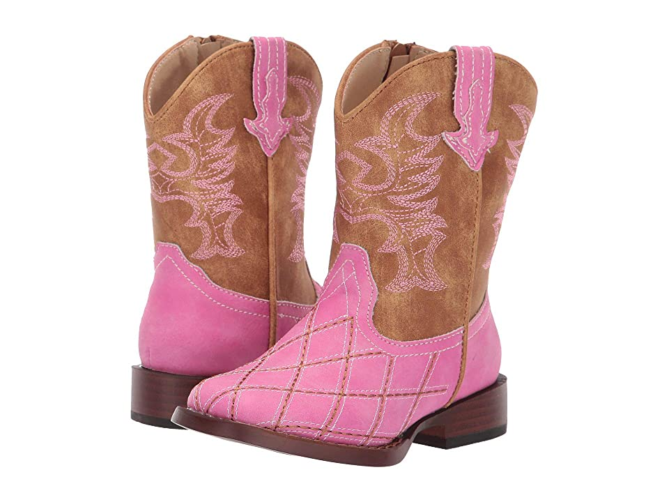 Roper Kids Crosscut (Toddler) (Diamond Checked Pink Vamp) Cowboy Boots