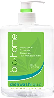bio-home Dishwash Liquid - Lemongrass And Green Tea, Biodegradable, Eco-Friendly, Concentrated, 100 Percent Plant Based Ac...