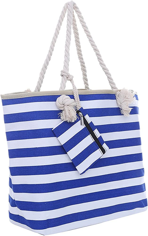 Dondon borsa da spiaggia a mano/spalla per donna grande 58 x 38 x 18 - 50% cotone e 50% poliestere BBAG38-neu