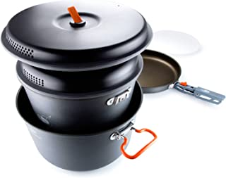 GSI Outdoors Pinnacle Base Camper Large Aluminum Integrated Cookset Kitchen