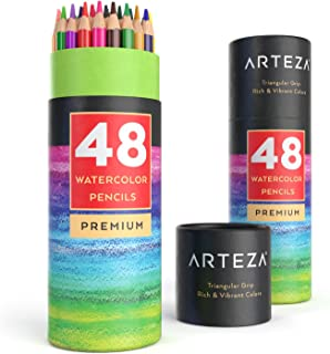 Arteza Watercolor Pencils, Soft-Core, Triangular-shaped, Pre-sharpened (Pack of 48)