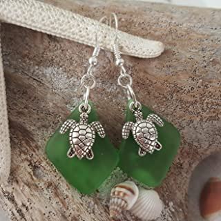 "product image for Handmade in Hawaii,""Twin Turtle"" Emerald""May birthstone"" sea glass earrings, (Hawaii Gift Wrapped, Customizable Gift Message)"