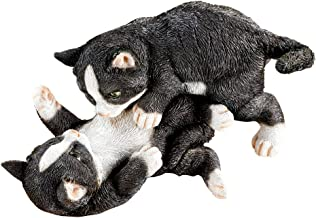 Collections Etc Tabby Kittens at Play Indoor or Outdoor Garden Statue Décor, Cat Lovers Gift, Black and White