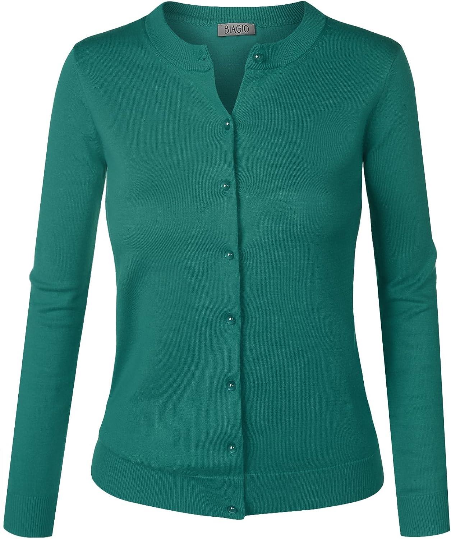 BIADANI Women Pearl Button Down Long Sleeve Soft Knit Cardigan Sweater Dark Green 1X-Large
