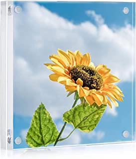 ONE WALL Acrylic Picture Frame 5x5 Inch, Magnetic Clear Photo Frame Free Standing for Tabletop Desktop Display