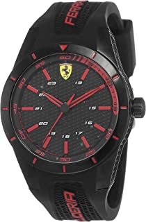 Ferrari Mens Quartz Watch, Analog Display and Silicone Strap 830245