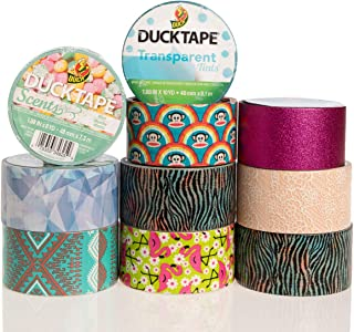 Duck and Scotch Brand Duct Tape Set (10 Assorted Rolls) Colored Duct Tape Multi Pack, Duct Tape Bulk Lot For Duct Tape Designs, DIY Crafts