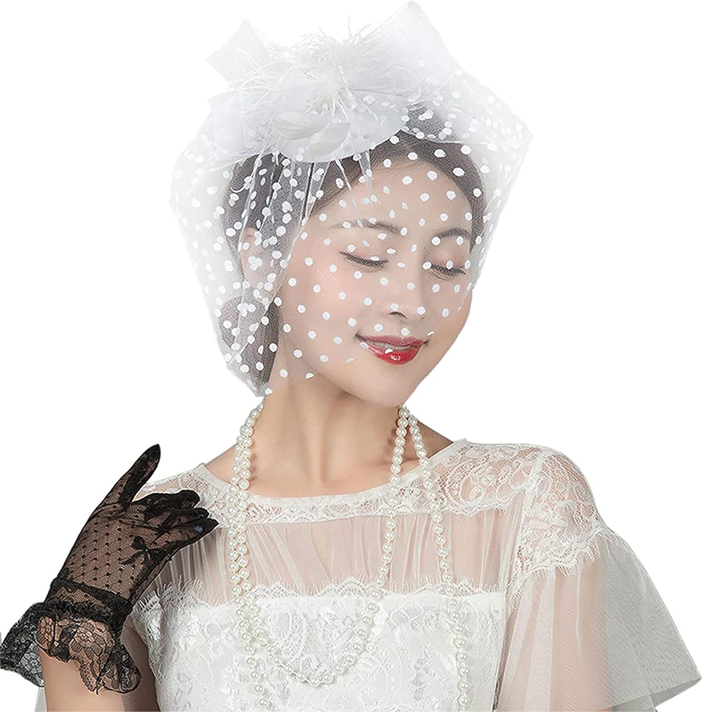 Fascinators Hats for Women 20s 50s Peach-Pillbox-Hat Kentucky-Derby Tea-Party Hat Bownot-Flower Veil Double Hair Clips