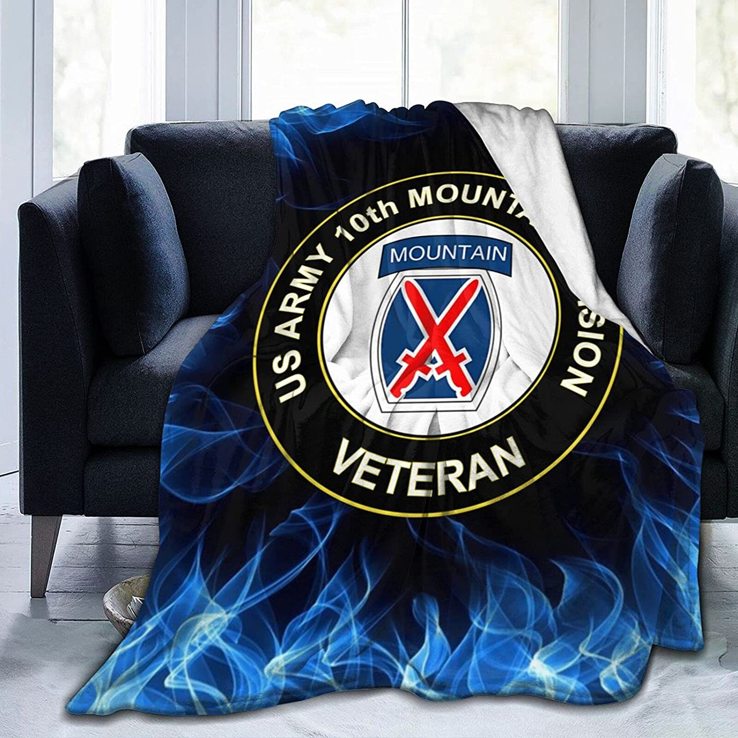 Us Army Veteran Ranking TOP16 10th Mountain Flannel Blanket Division Infantry Philadelphia Mall