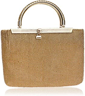 Sturdy Evening Handbag Fashion Party Zipper Banquet Portable Bridal Handbag Gold/Silver Ladies Rhinestone Crystal Clutch Handbag Large Capacity (Color : Gold)