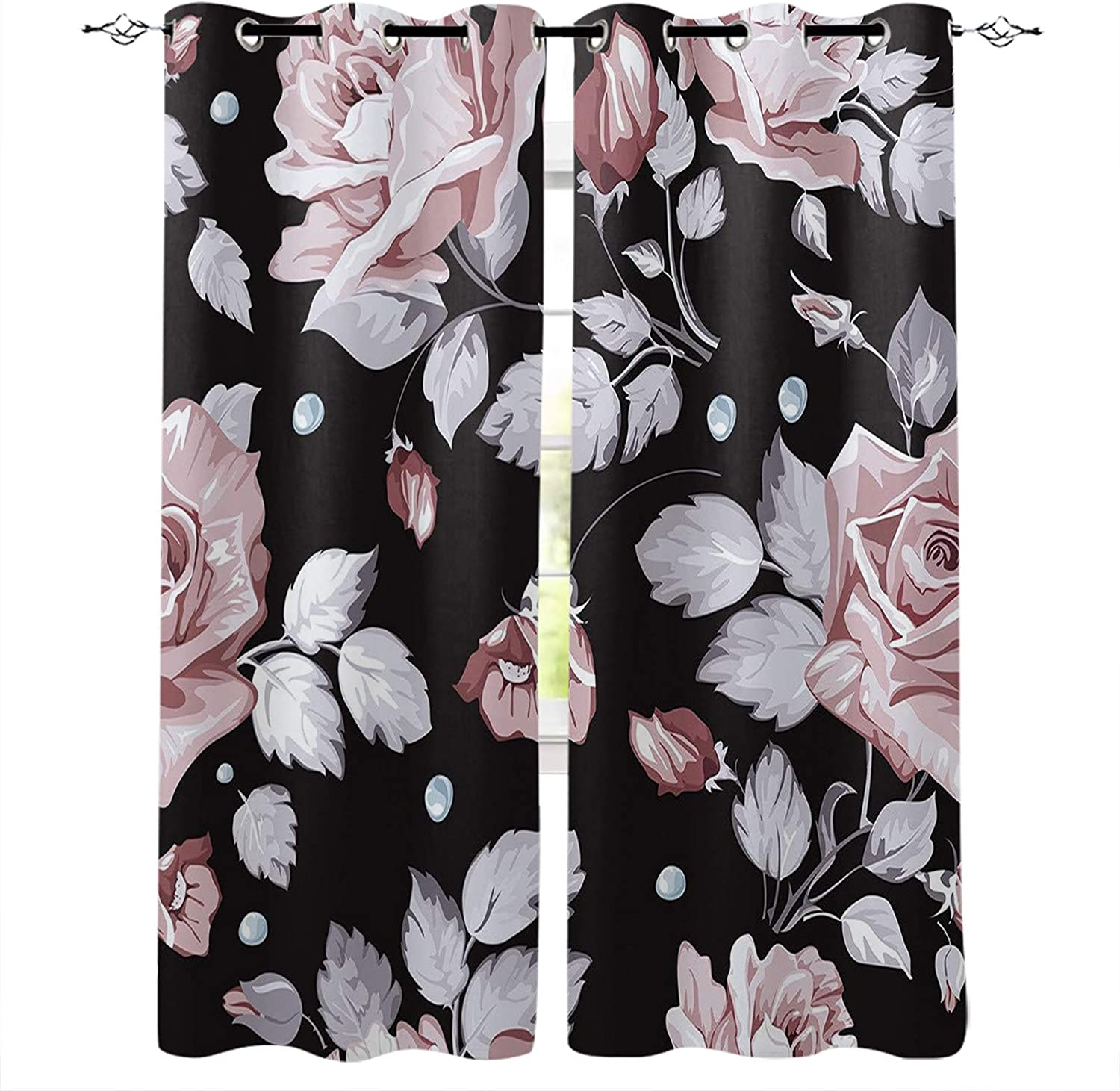 FortuneHouse8 Blackout Washington Mall Curtains Rose Black Clearance SALE! Limited time! Floral Flower Pattern