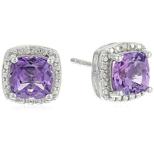 96b0e385f Sterling Silver Cushion Amethyst and Diamond Accented Halo Stud Earrings
