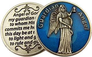 L&M Blue Enamel Guardian Angel Pocket Token with Prayer, 1 1/8 Inch