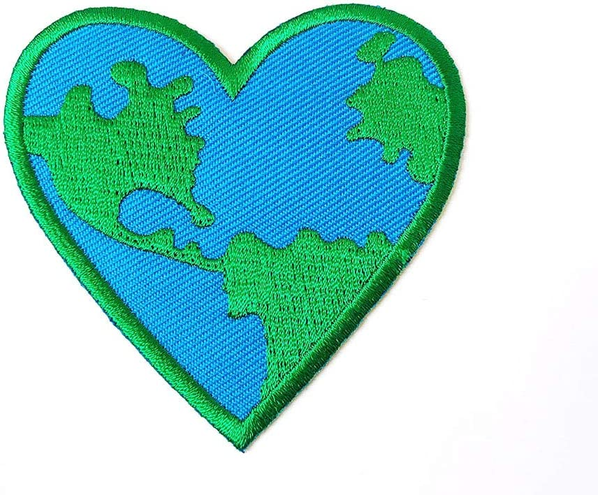 Pack of 2 Love Earth Heart Iron on Logo Limited Special Price Patches Max 74% OFF