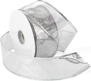 Morex Ribbon Gleam Wired Metallic Sheer Ribbon, 2.5-in x 50-Yd, Silver