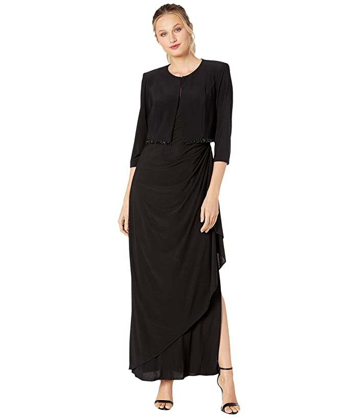 1920s Evening Dresses & Formal Gowns Alex Evenings Long Bolero Jacket Dress with Beaded Fringe Detail on Jacket Black Womens Dress $209.00 AT vintagedancer.com