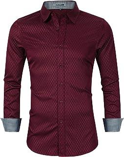 ae2643a5f4 KUULEE Hombre Camisa Manga Larga Slim Fit Camisa Vaquera/Camisa a Cuadros  Rejilla de Diamante