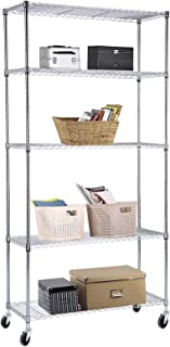 SUNCOO Wire Shelving Unit Storage Rack Metal Kitchen Shelf Stainless Steel Adjustable 5 Tier Shelves Chrome 30