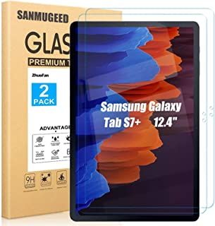[2 Pack ] SANMUGEED Screen Protector Compatible with Samsung Galaxy Tab S7 Plus 5G (12.4 Inch), Premium 9H Hardness 2.5D R...