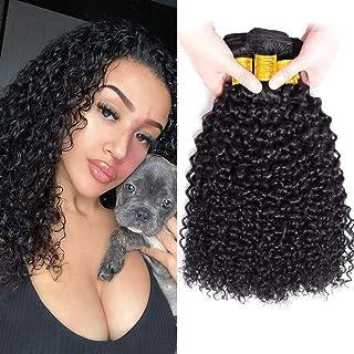 FZY 9A brasileño rizado cabello paquetes pelo humano brasileño paquetes pelo rizado brasileño 3 paquetes pelo brasileño Virgen paquetes natual negro color 300g total 20 22 24 Pulgadas