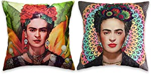 Mulzeart Set of 2, Frida Kahlo Mandala and Floral Series Throw Pillow Covers,Decorative Throw Pillow Case 18x18inch,Linen/Cotton