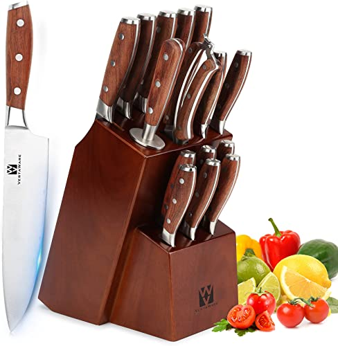 2021 Knives Set for Kitchen, Vestaware 16-Piece Knives Set with Block Wooden, German Stainless high quality Steel Forged Chef Knife discount Set Professional, Knife Block Set outlet online sale