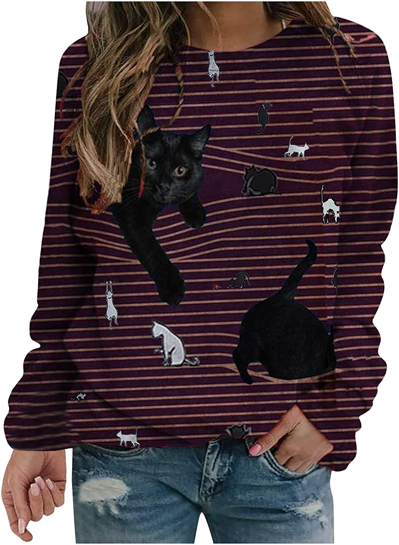 Evarend Cute Cat Sweatshirt Women kitten Kitty Casual Crewneck Long Sleeve Pullover Tops Blouse Printed Fall Top