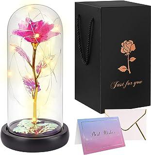 Minterest Rosa Eterna para Día de la Madre Regalo Original,Artificial Oro Flor de Aluminio en Cúpula de Cristal con Tarjet...