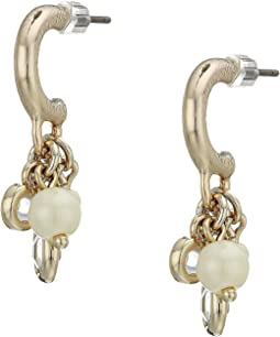 White Pearl Shaky Huggie Earrings