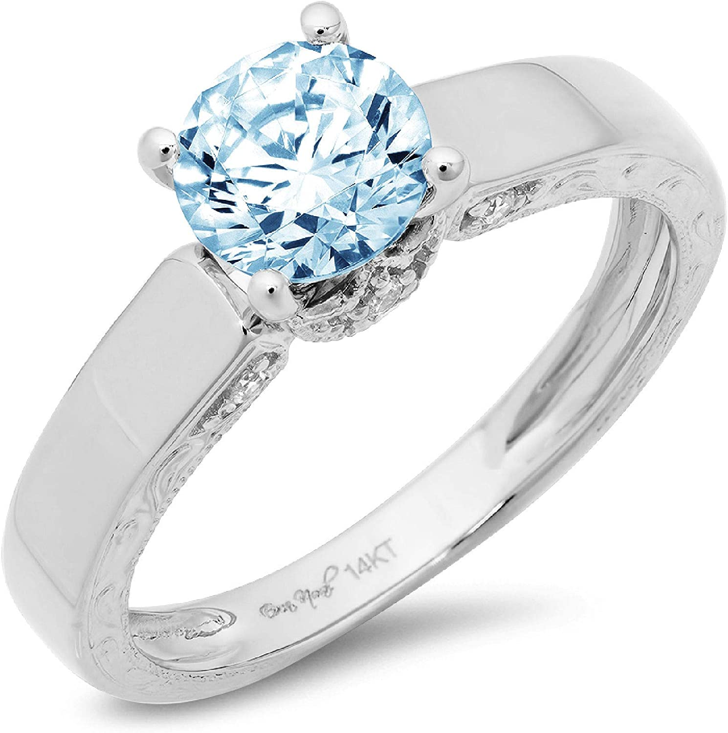 1.70ct Brilliant Round Cut Solitaire Genuine Flawless Blue Simulated Diamond Gemstone Engagement Promise Anniversary Bridal Wedding Accent Ring Solid 18K White Gold