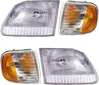 4 Piece Headlight & Corner Light Set - Fits 97-03 Ford Pickups F150 F250 (from 8/96 and up)