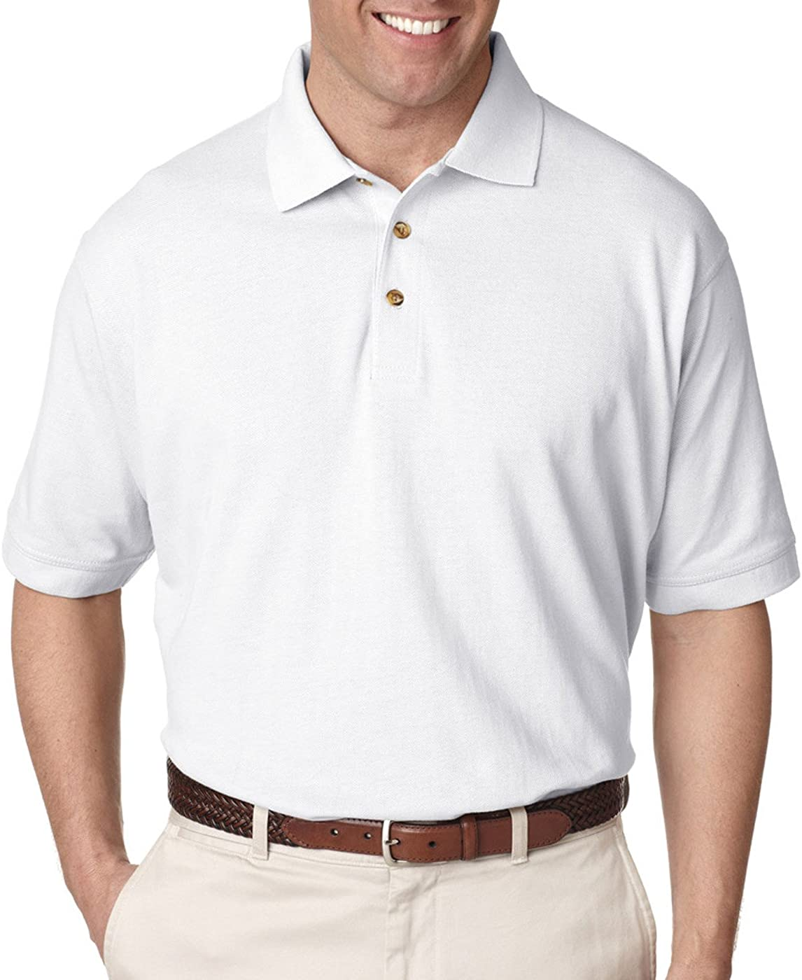 UltraClub Mens Tall Classic Piqué Polo (8535T)-White,XLT