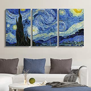 wall26 3 Panel Canvas Wall Art - Starry Night by Vincent Van Gogh - Giclee Print Gallery Wrap Modern Home Decor Ready to Hang - 16