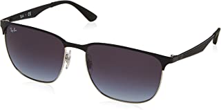 Ray-Ban RB3569 90048G Square Sunglasses, Silver Top Black, 59mm