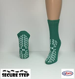 Secure Step Double-Sided Non Slip Comfort Safety Sock - Green - XLarge (6 Pair) - Men's Size: 8-9 / Women's Size: 9-10