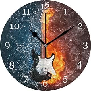 AUUXVA XMCL Ice Fire Rock Music Guitar Wall Clock Silent Non Ticking Round Clock for Bedroom Living Room Office Home Decor
