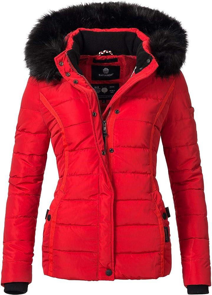 Navahoo, giacca trapuntata invernale da donna, con cappuccio in pelliccia sintetica Miamor-35