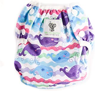 Swimming Nappies - Stylish Swim Nappies Reusable for Baby & Toddler by Sarah-Jane Collection. Eco-Friendly, Washable, Grows with Your Baby - One Size fits All - (Purple Whale)