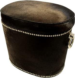 Global Views Elegant Hair on Hide Black Silver Ring Bench | Storage Leather Natural Large