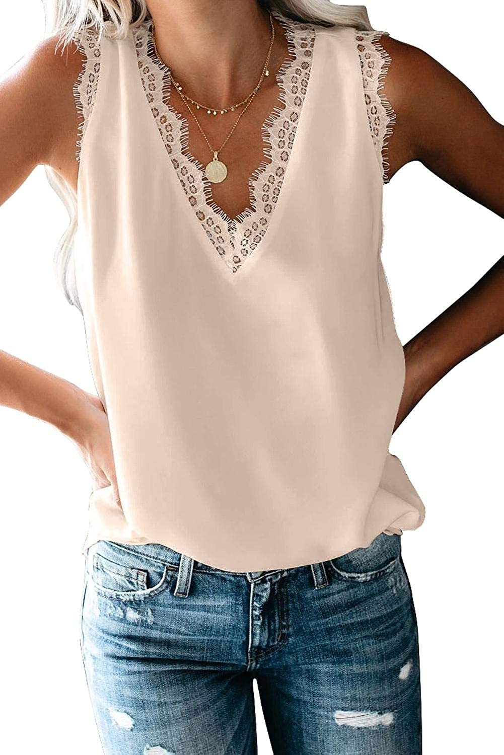 ANFTFH V Neck Lace Tank Chiffon Shirts for Women Flowy Loose Summer Tops