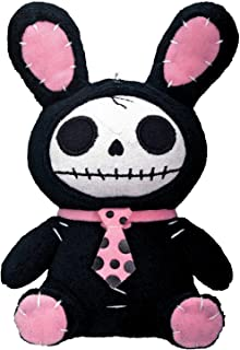 Bunny Furry Bones Plush Stuffed Animal Doll, Black and Pink Collectible