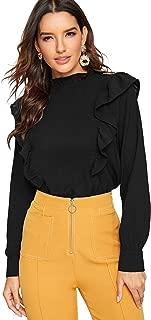 Women's Long Sleeve Button Down Lotus Ruffled Work Shirt Chiffon Blouse Top